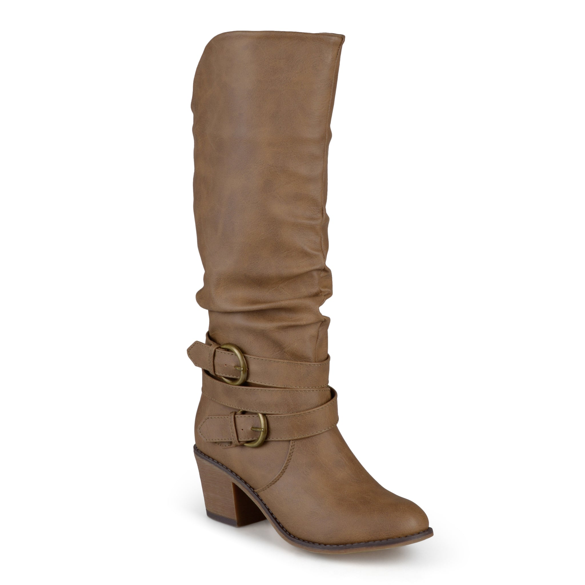 Wide Calf Slouchy Buckle Heeled Boot