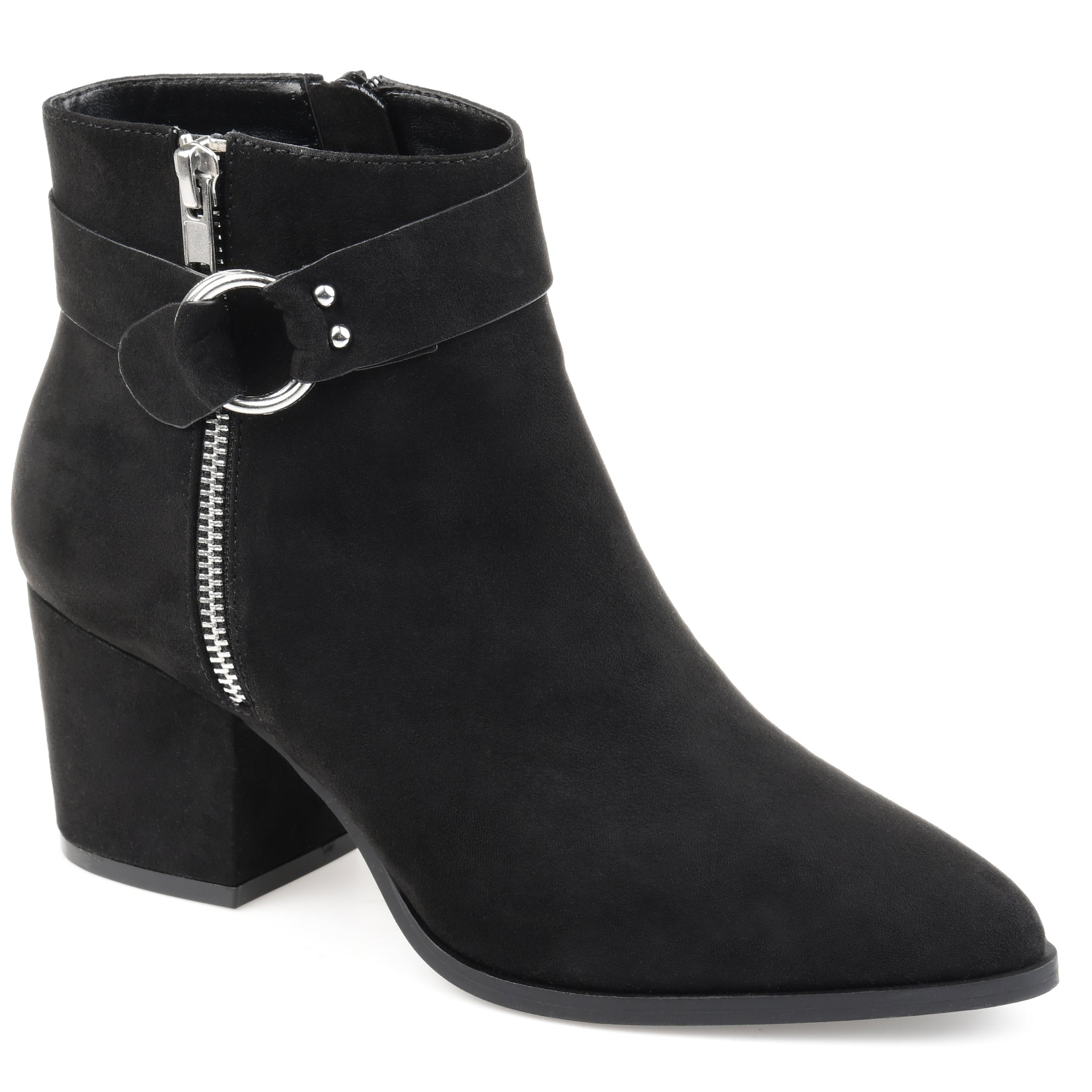 Loop Buckle Accent Suede Bootie