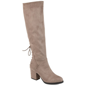 Lace-Up Detail Block Heel Boot Wide Calf