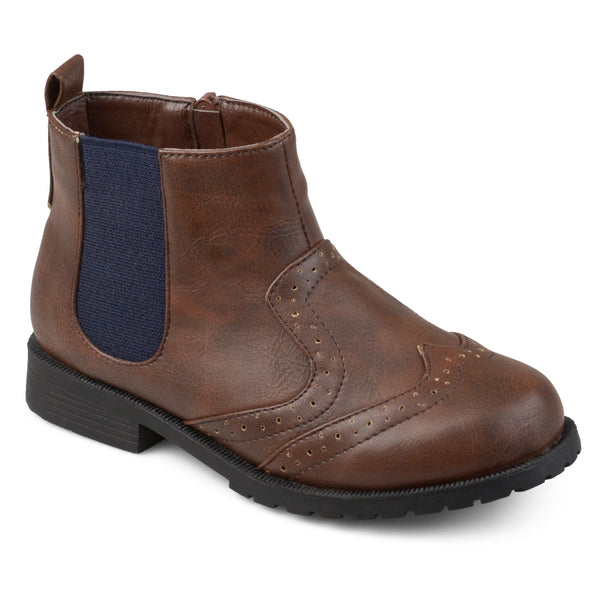Faux Leather Wingtip Chelsea Boots