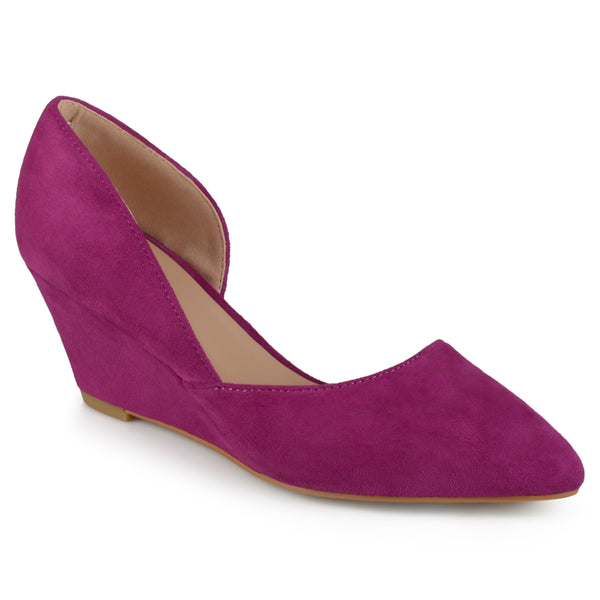 Faux Suede D'orsay Pointed Toe Wedges