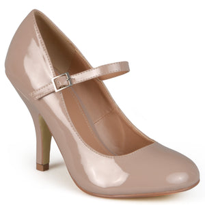 Patent Round Toe Mary Jane Pumps