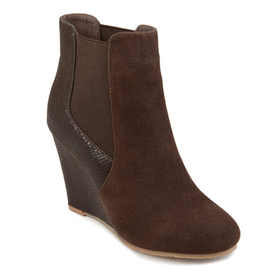 Round Toe Wedge Booties
