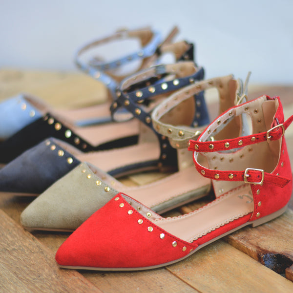 Studded Faux Suede Ankle Strap Flats