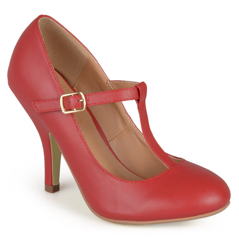 Matte Finish T-strap Pumps