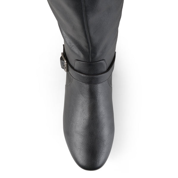 Tall Round Toe Buckle Riding Boots