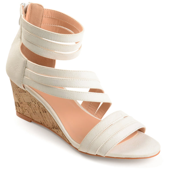 Strappy Faux Cork Wedges
