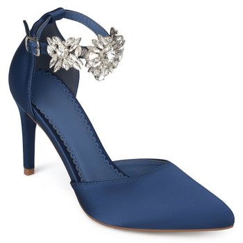 D'Orsay Pointed Toe Rhinestone Ankle Strap Stiletto Heels
