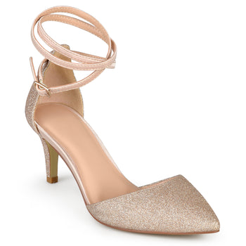 Glitter Pointed Toe D'orsay Pumps