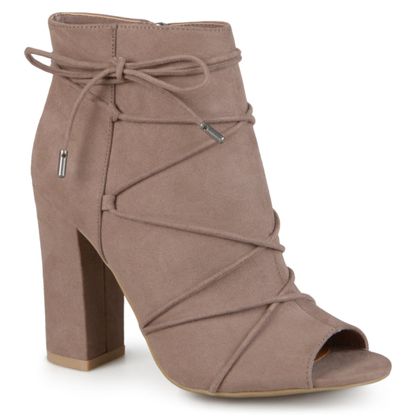Open-Toe Lace Up High Heel Bootie