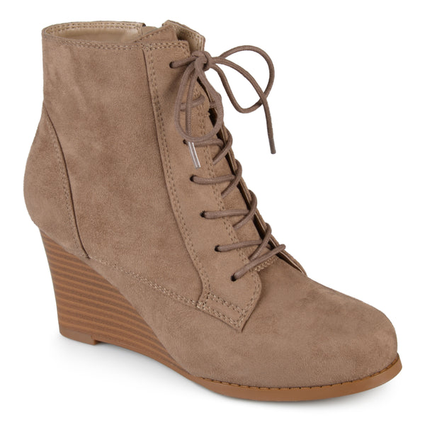 Lace-up Stacked Wedge Booties