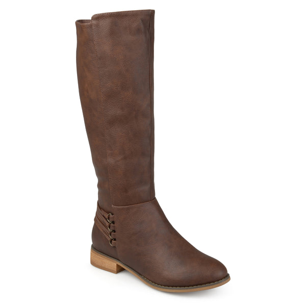 Wide Calf Distressed D-Ring Strap Riding Boots