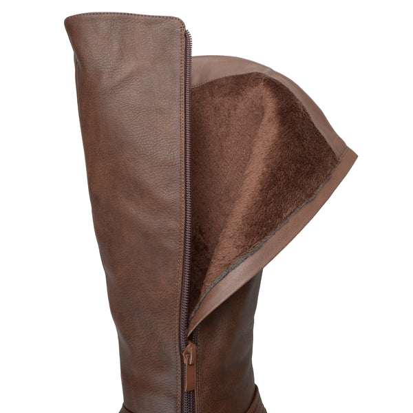 Distressed D-Ring Strap Riding Wide Calf Boot