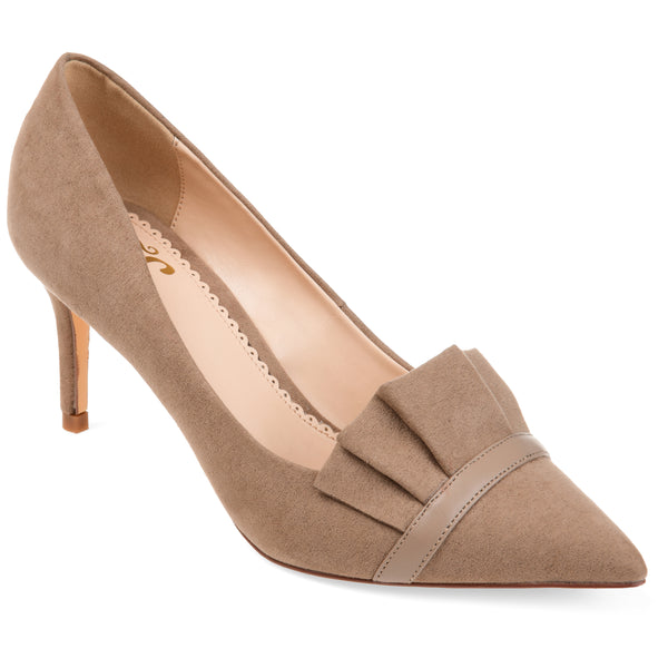 Pointed Toe Ruffle Pump