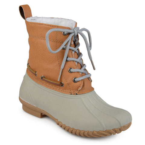 Faux Shearling Lace-up Duck Boots