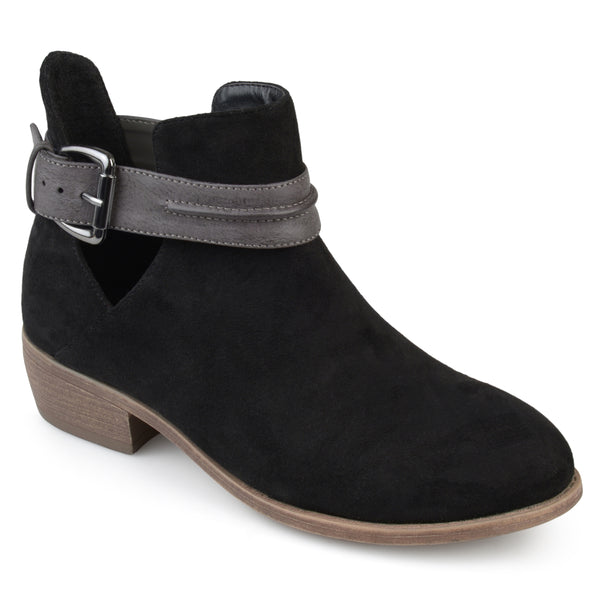 Faux Suede Stacked Heel Booties