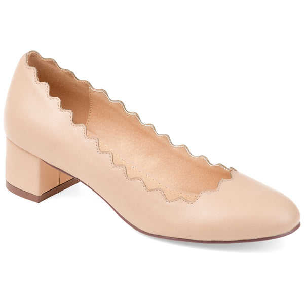 Scalloped Edge Block Heel Pump
