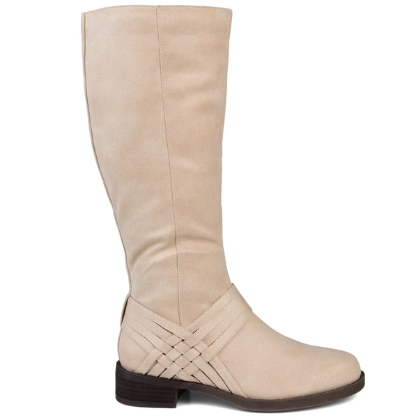 Extra Wide Calf Weave Detail Riding Boot
