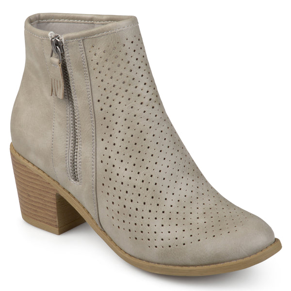 Laser-cut Faux Wood Stacked Heel Booties