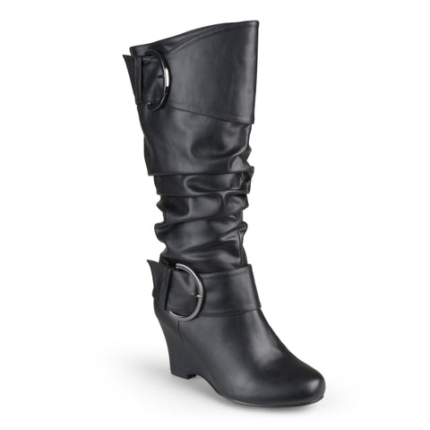 Wide Calf Tall Faux Leather Buckle Boots