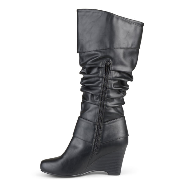 Tall Faux Leather Buckle Boots