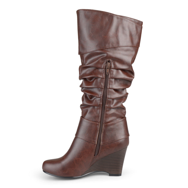 Tall Faux Leather Buckle Wide Calf Boot
