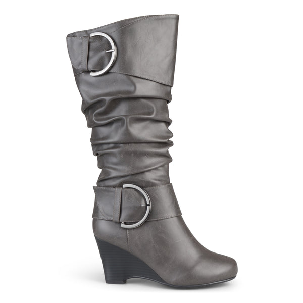 Tall Faux Leather Buckle Extra Wide Calf Boots