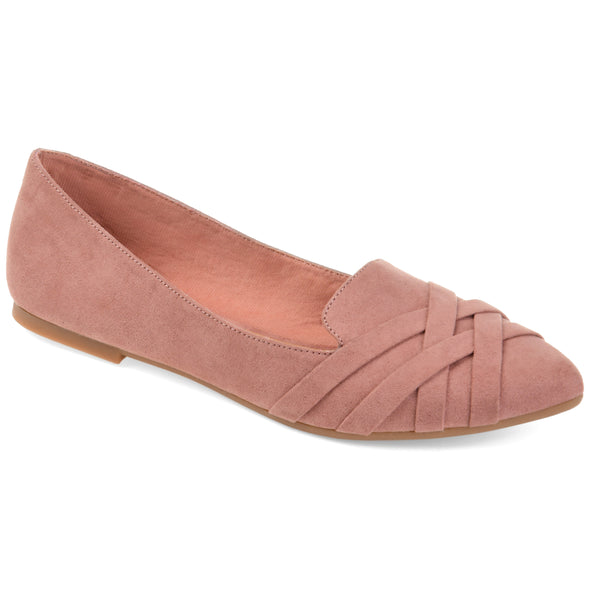 Criss Cross Pointed Toe Loafer Flat