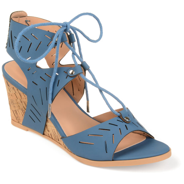 Cut-Out Lace Up Open Toe Wedge