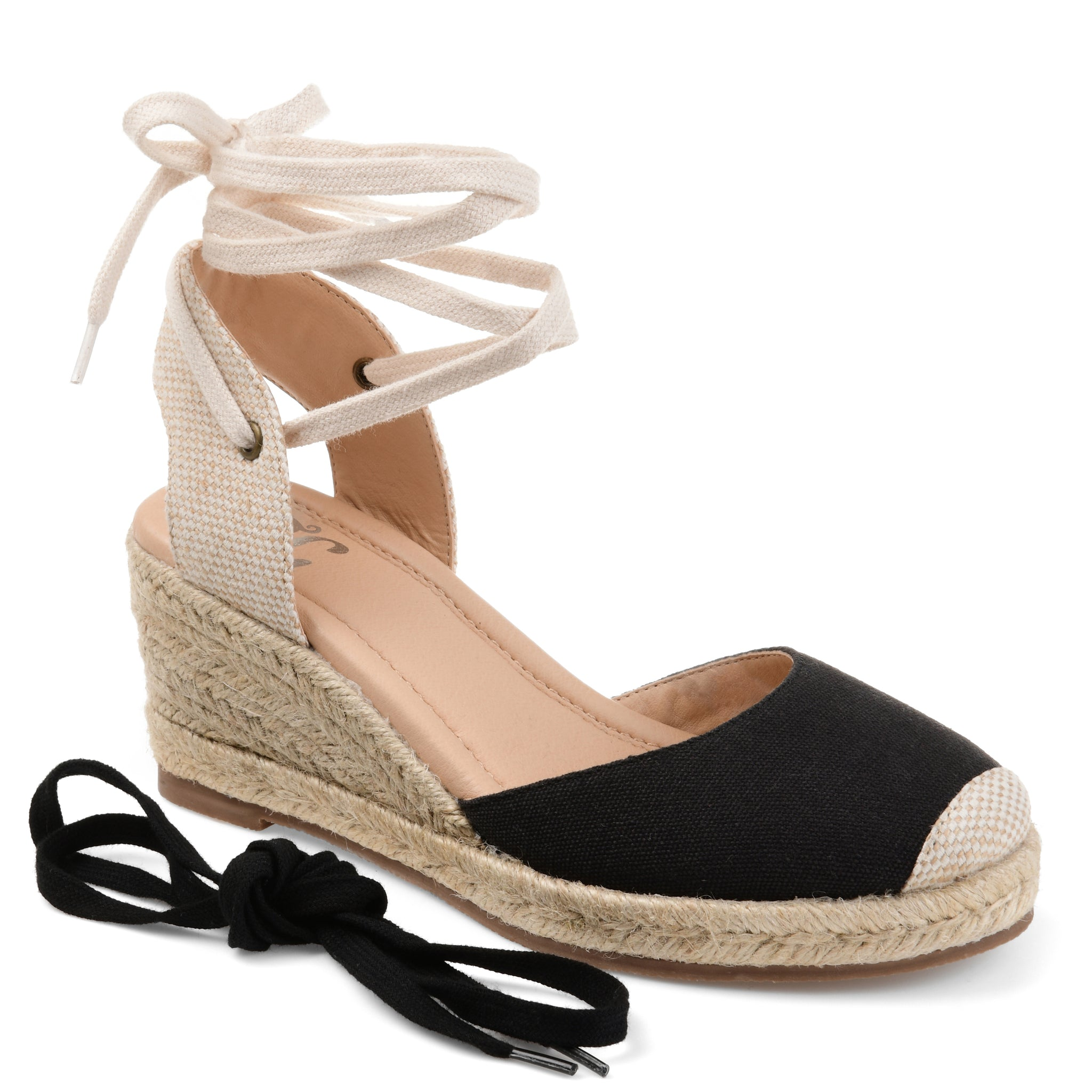 Round Toe Espadrille Wrap Around Wedge