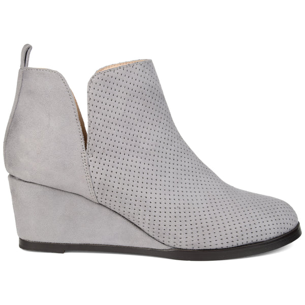 Perforated Wedge Heel Bootie