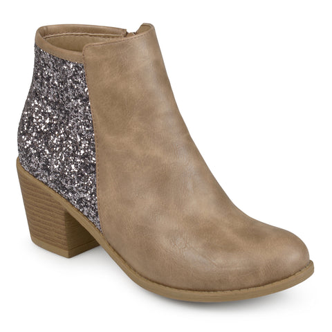 Glitter Wood Stacked Heel Booties