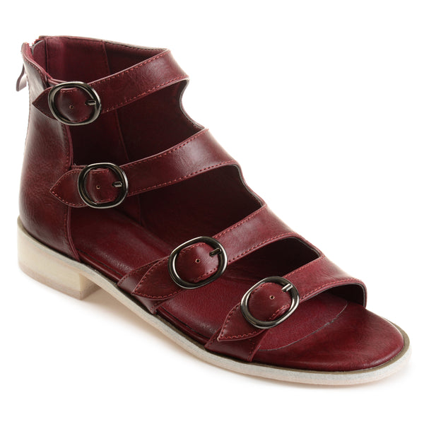 Distressed Side Buckle High-top Sandals