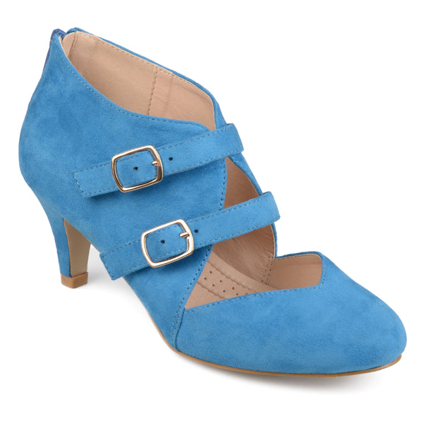 Comfort Sole Dual Buckle Sweetheart Toe Heels