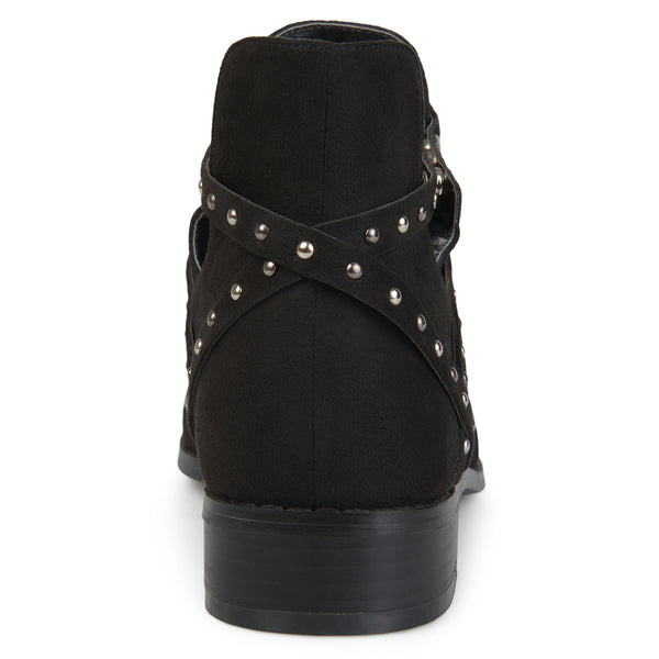 Side Cut-out Studded Wrap Strap Ankle Booties