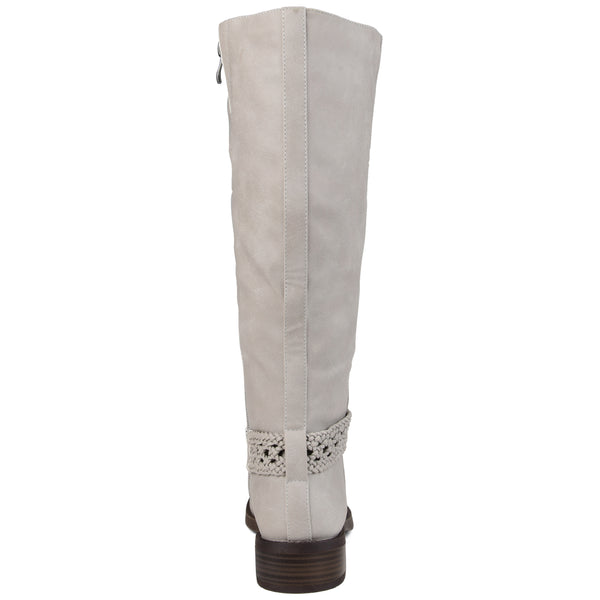Braided Strap Riding Wide Calf Boot
