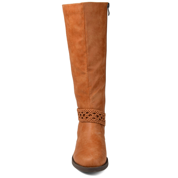 Extra Wide Calf Braided Strap Riding Boot