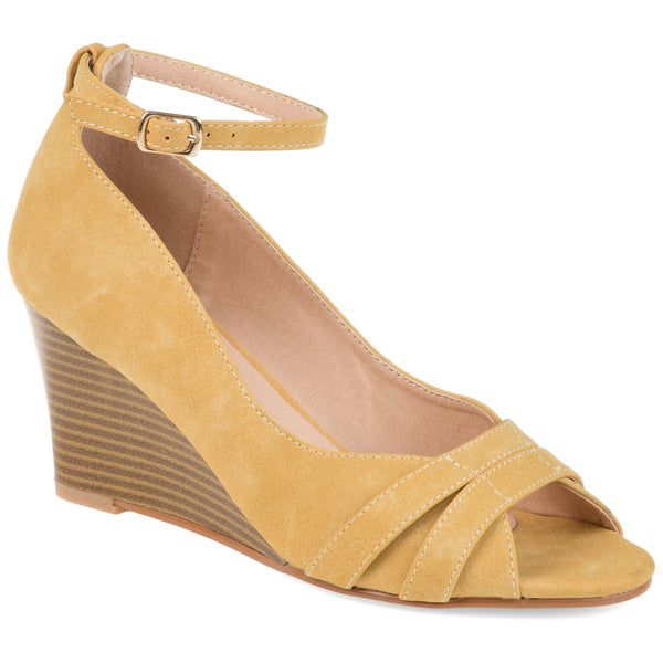 Peep-toe Stacked Wood Wedge