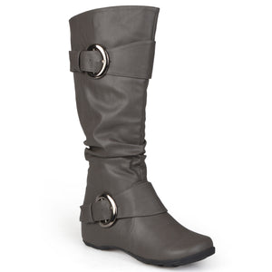 Wide Calf Slouch Buckle Knee-High Boot