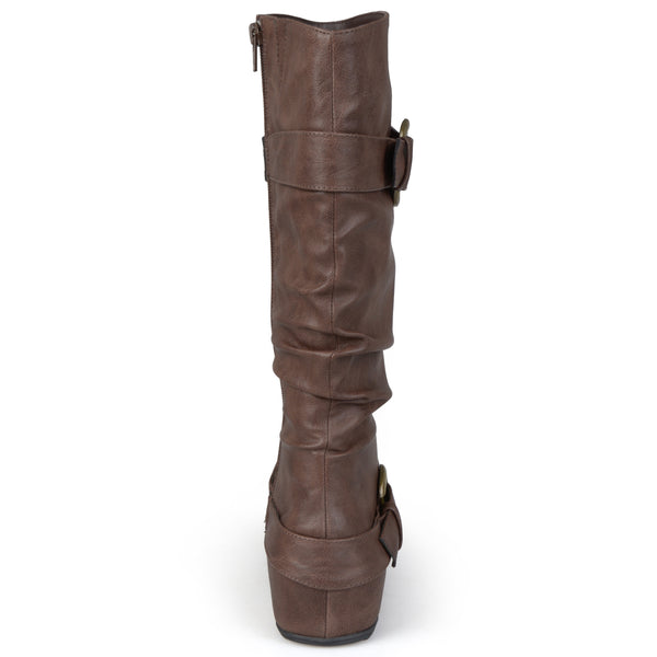 Slouch Buckle Knee-High Wide Calf Boot