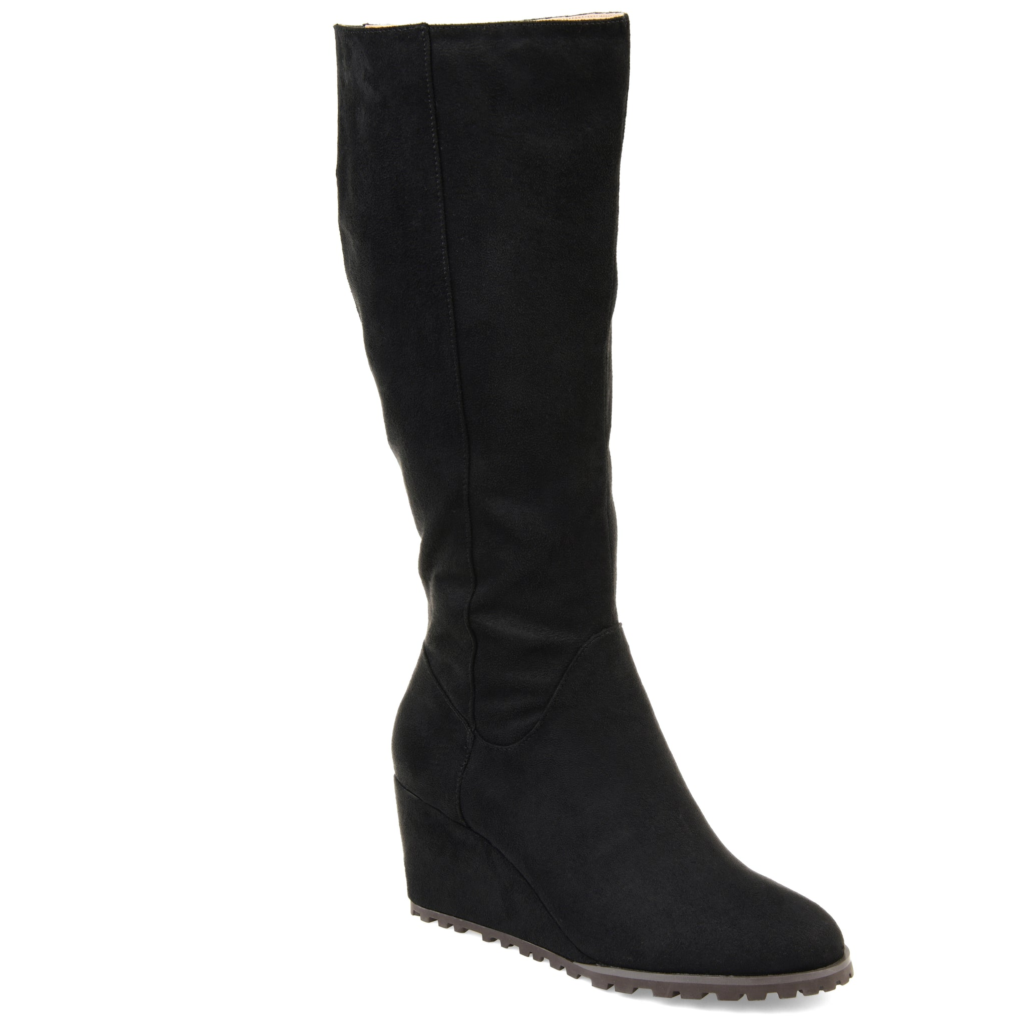 Lug Sole Suede Wedge Boot Extra Wide Calf