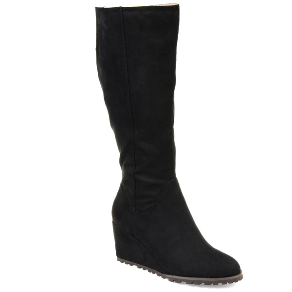 Lug Sole Suede Wedge Boot