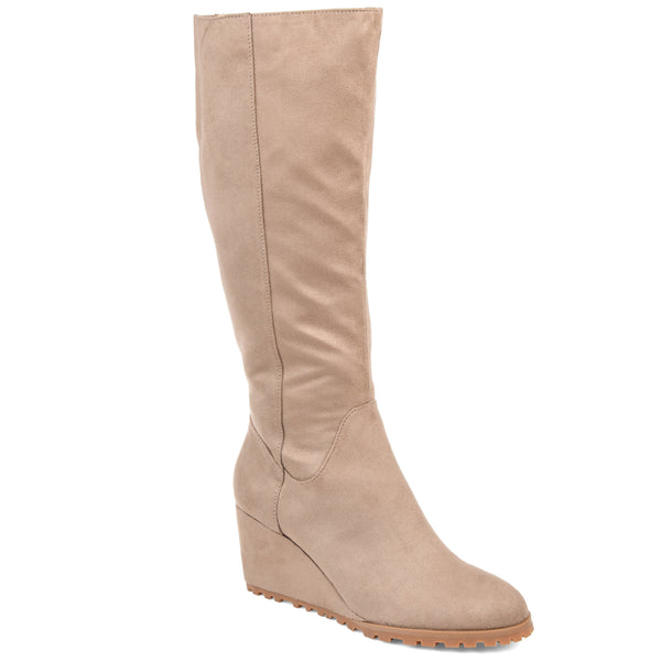 Lug Sole Suede Wedge Boot Wide Calf
