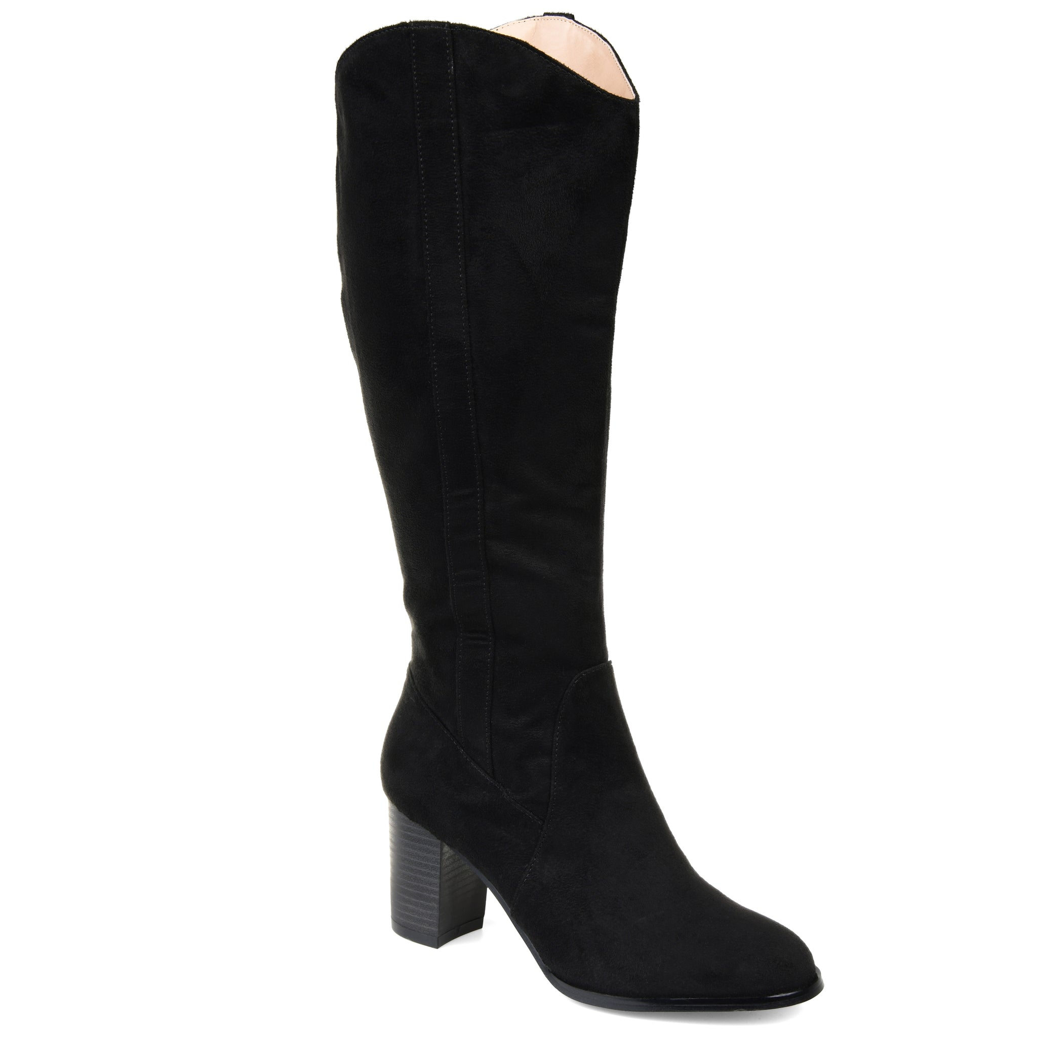 Western Inspired Stacked Heel Boot Extra Wide Calf