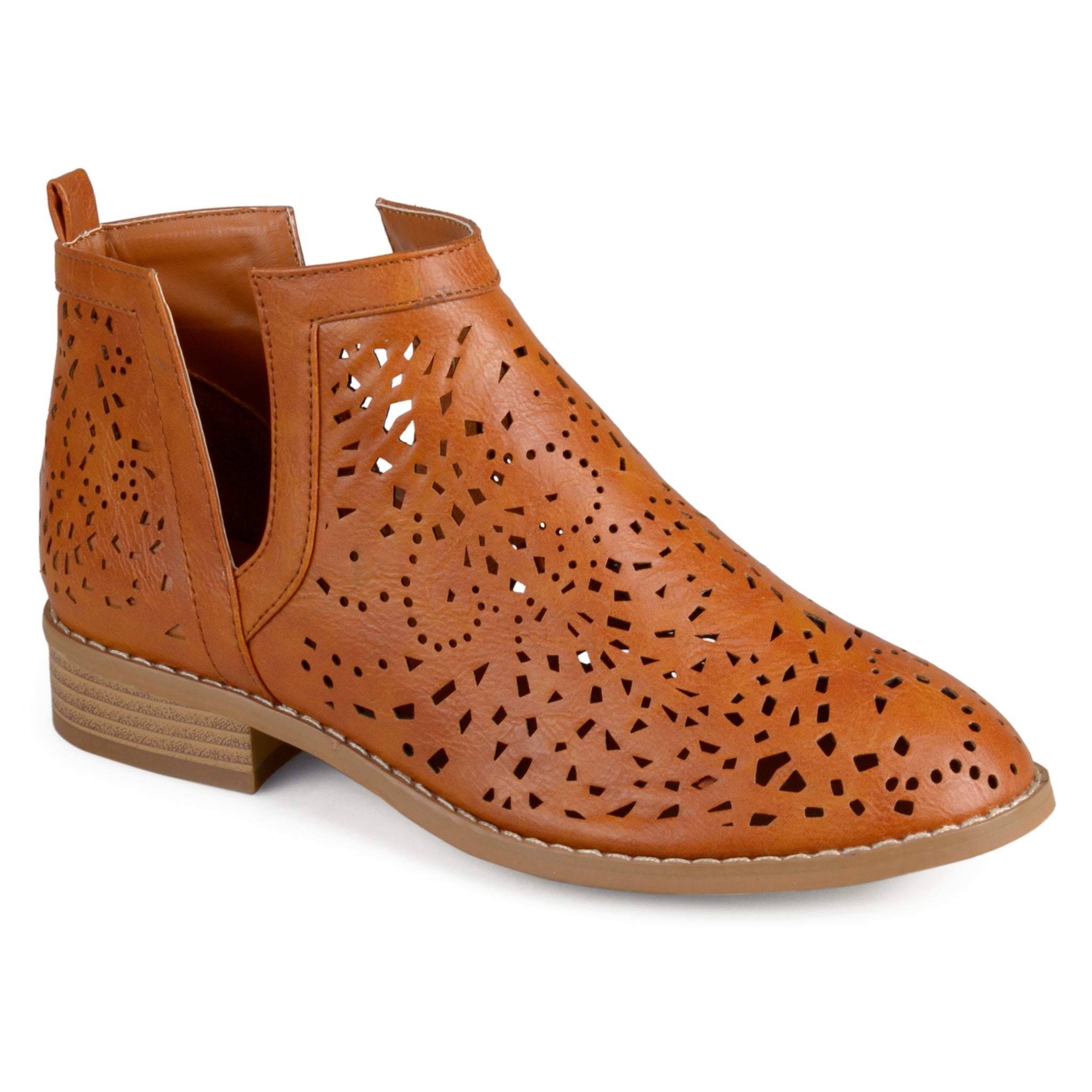 Laser Cut Stacked Heel Booties