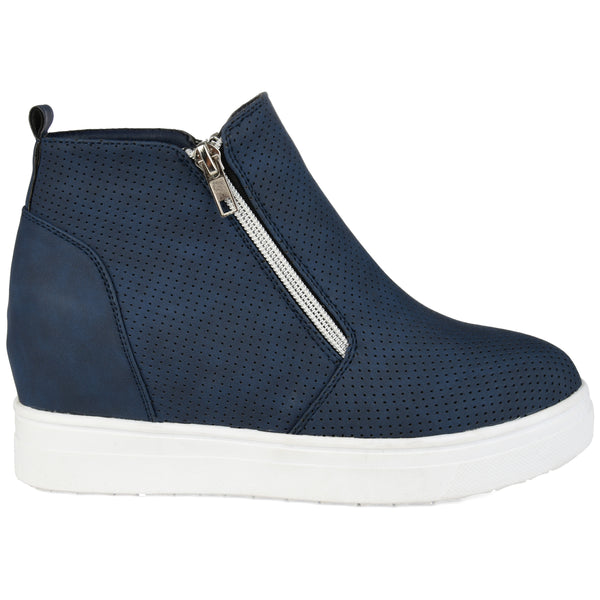 Dual Zipper High top Wedge Sneaker