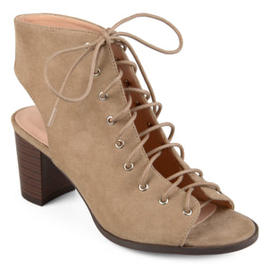 Lace-up Faux Suede High Heel Booties