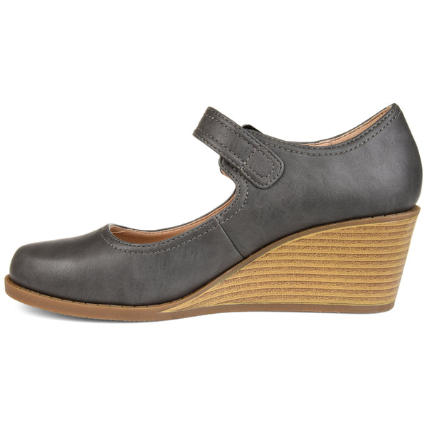 Round Toe Buckle Comfort Wedge