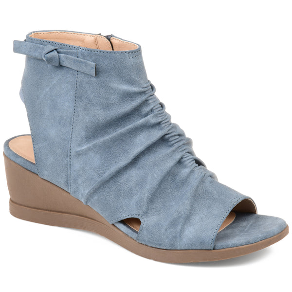 Gathered Front Peep-Toe Wedge
