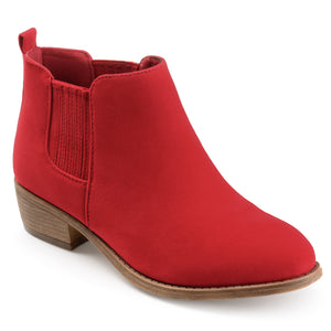 Faux Suede Stacked Heel Ankle Boots